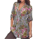 Women V neck Long Sleeve Floral Shirt Top AExp