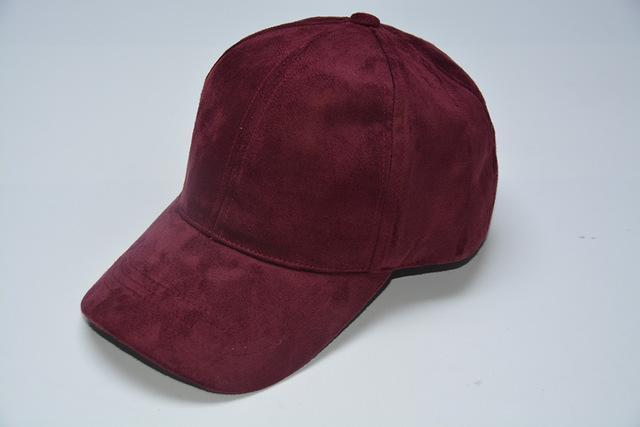 Women Velvet/ Suede base ball Hat with Adjustable Strap-Burgundy-JadeMoghul Inc.