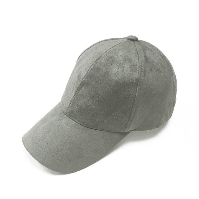Women Velvet/ Suede base ball Hat with Adjustable Strap-Dark Grey-JadeMoghul Inc.