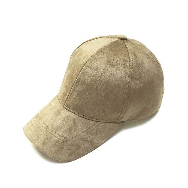 Women Velvet/ Suede base ball Hat with Adjustable Strap-tan-JadeMoghul Inc.