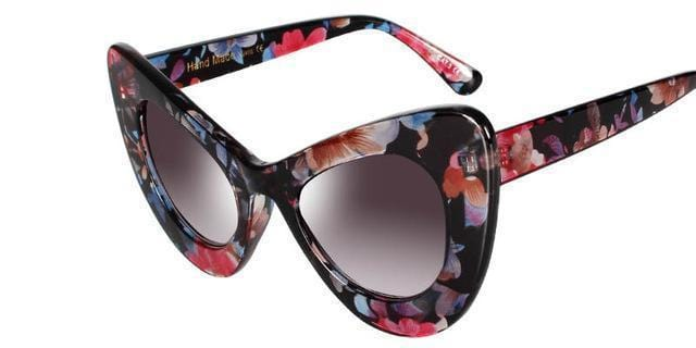 Women Vintage Cat Eye Sunglasses In Acrylic Floral / Solid Frames With 100% UV 400 Protection-5-JadeMoghul Inc.