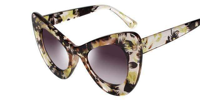 Women Vintage Cat Eye Sunglasses In Acrylic Floral / Solid Frames With 100% UV 400 Protection AExp