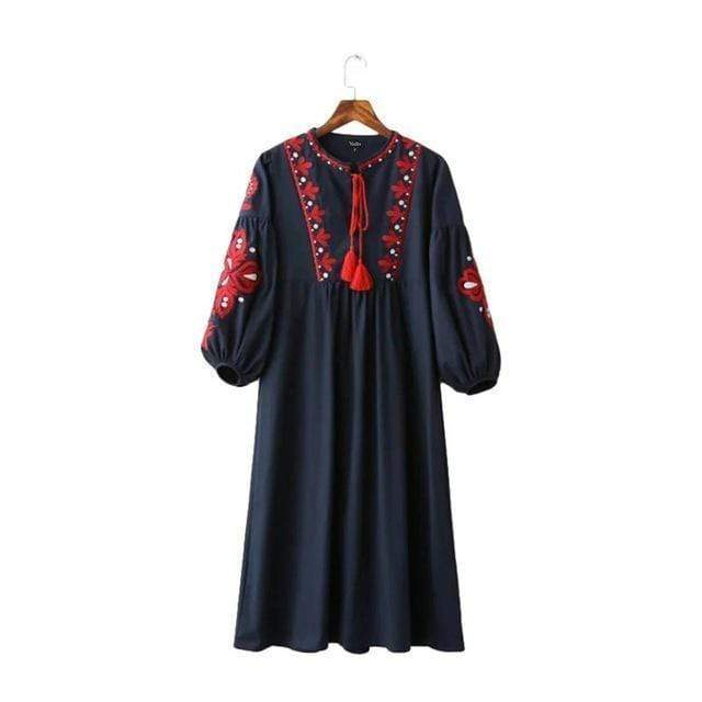 Women Vintage Floral Embroidered Summer Dress With Tassel Drawstring AExp