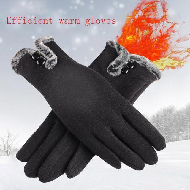 Women Warm Wool Gloves With Soft Fur Inner Lining-Black-One Size-JadeMoghul Inc.