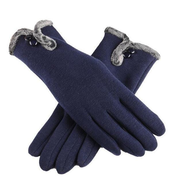 Women Warm Wool Gloves With Soft Fur Inner Lining-Cyan-One Size-JadeMoghul Inc.