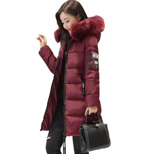 women winter jacket plus size 2017 army green womens jacket thick Fur Hooded long Down Cotton Padded Female Coat Parka QH0391 AExp