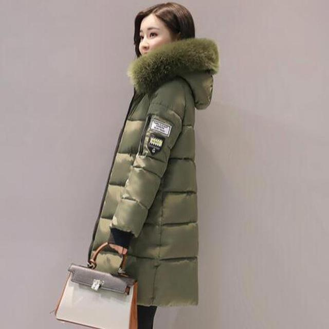 women winter jacket plus size 2017 army green womens jacket thick Fur Hooded long Down Cotton Padded Female Coat Parka QH0391-Army Green-XL-JadeMoghul Inc.