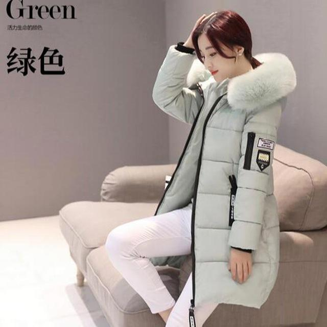 women winter jacket plus size 2017 army green womens jacket thick Fur Hooded long Down Cotton Padded Female Coat Parka QH0391-light green-XL-JadeMoghul Inc.