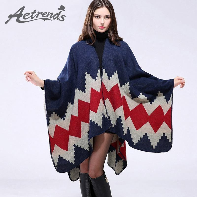 Women Winter Poncho Cape/ Wrap In Geometric Designs-Color No 1-JadeMoghul Inc.
