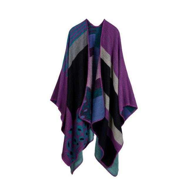 Women Winter Poncho Cape/ Wrap In Geometric Designs-Color No 5-JadeMoghul Inc.