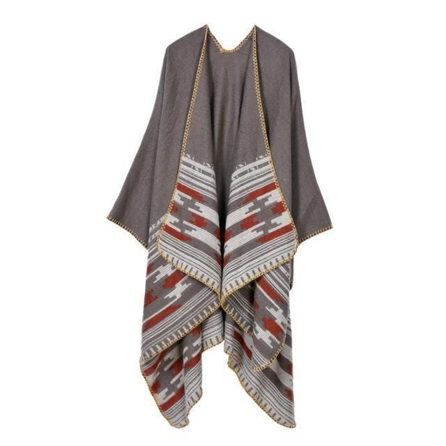 Women Winter Poncho Cape/ Wrap In Geometric Designs-Color No 8-JadeMoghul Inc.