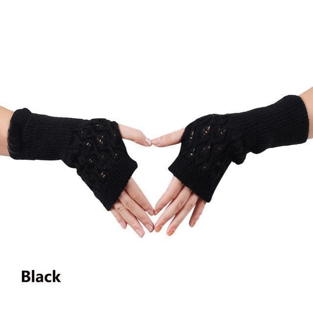 Women Wool Cable Knit Arm Length Winter Gloves-Black 1-One Size-JadeMoghul Inc.
