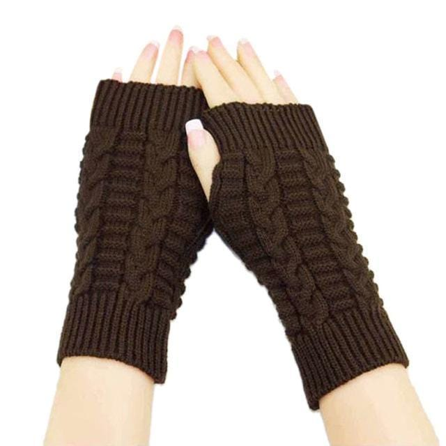 Women Wool Cable Knit Arm Length Winter Gloves-Coffee-JadeMoghul Inc.