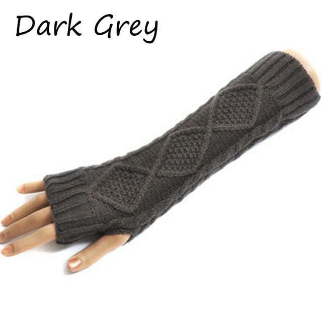 Women Wool Cable Knit Arm Length Winter Gloves-Dark Grey-One Size-JadeMoghul Inc.