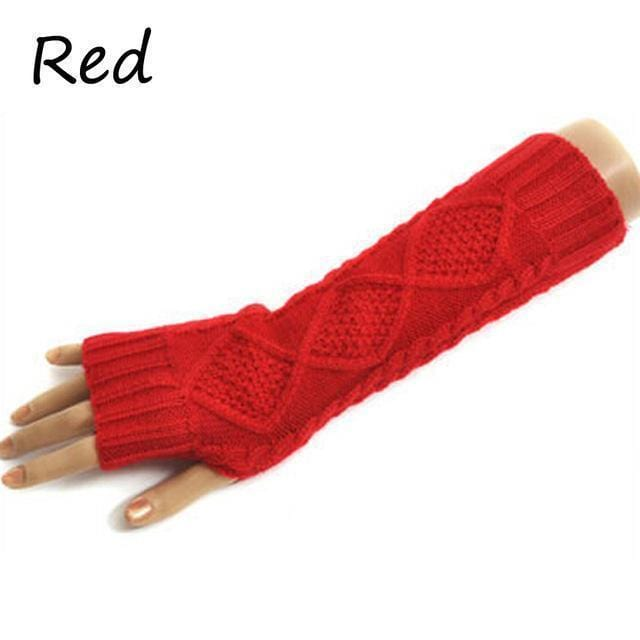 Women Wool Cable Knit Arm Length Winter Gloves-Red-One Size-JadeMoghul Inc.