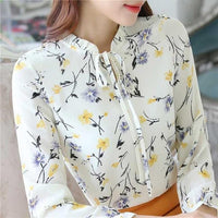 Women's Chiffon Long Sleeved Floral Shirt Top With Ruffled Collar-JadeMoghul Inc.