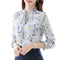 Women's Chiffon Long Sleeved Floral Shirt Top With Ruffled Collar-Light yellow-S-JadeMoghul Inc.