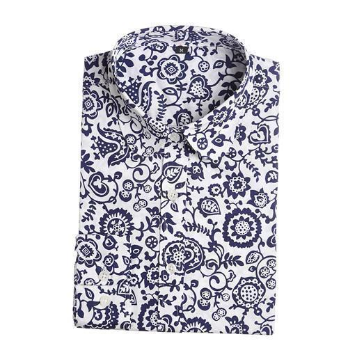 Women's Cotton Long Sleeved Shirt Top With Fun Prints-blue floral-XXL-JadeMoghul Inc.