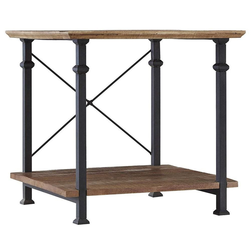 Wood And Iron End Table With X-Style Framing , Brown And Black-Side Tables and End Tables-Brown and Black-MDF & Iron-JadeMoghul Inc.