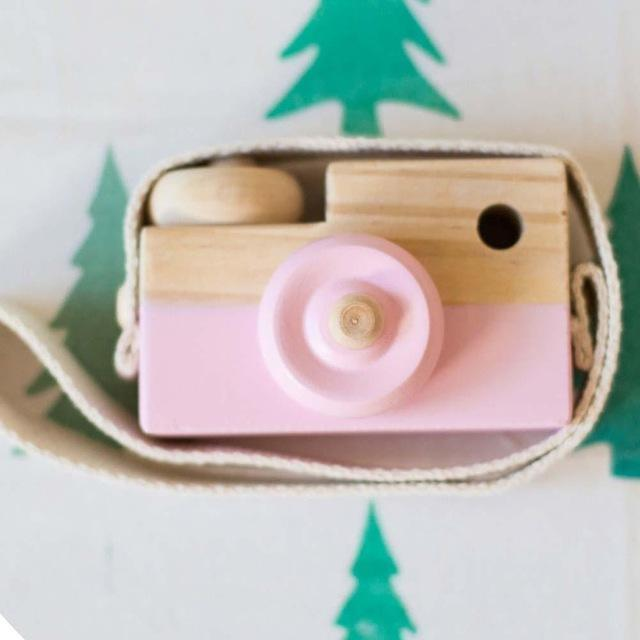 Wooden Camera Cute Mini  Toys Safe Natural for Baby Children Fashion Clothing Accessory Blue Pink White Birthday Christmas Gifts AExp