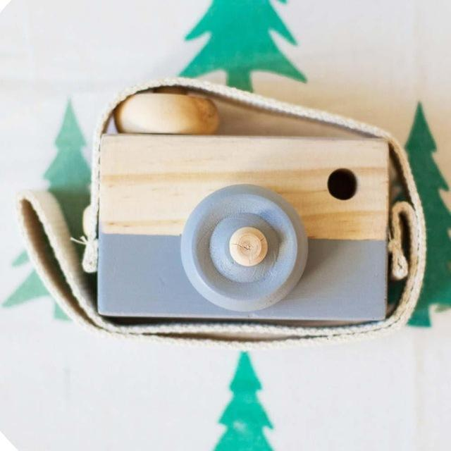 Wooden Camera Cute Mini Toys Safe Natural for Baby Children Fashion Clothing Accessory Blue Pink White Birthday Christmas Gifts-Grey-JadeMoghul Inc.