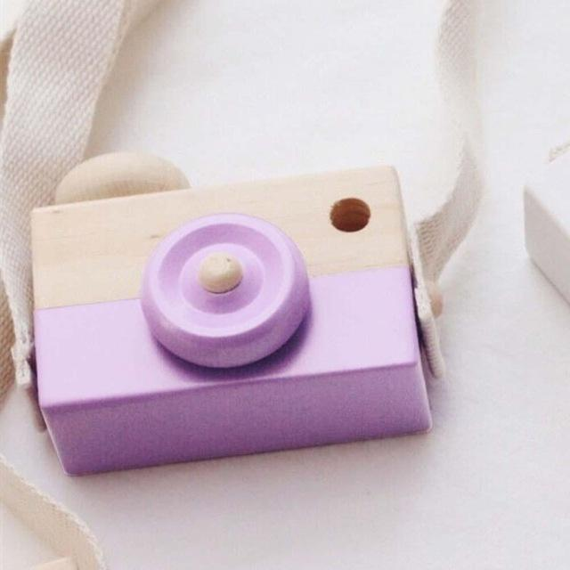 Wooden Camera Cute Mini Toys Safe Natural for Baby Children Fashion Clothing Accessory Blue Pink White Birthday Christmas Gifts-Purple-JadeMoghul Inc.