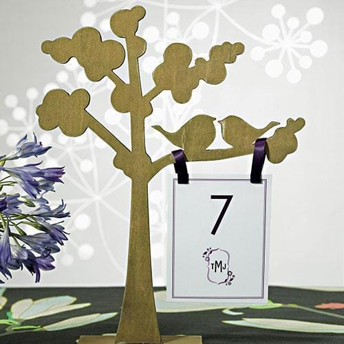 "Wooden Die-cut Trees with ""Love Birds"" Silhouette (Pack of 1)-Table Top Décor-JadeMoghul Inc."