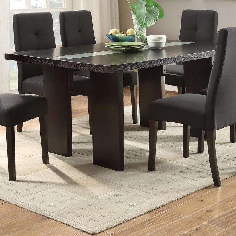 Wooden Dining Table, Brown-Dining Tables-Brown-MDF Poplar solid Birch-JadeMoghul Inc.