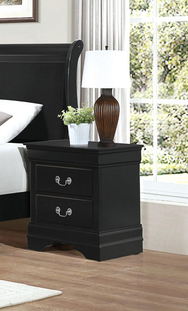 Wooden Night Stand With 2 Drawers Black-Nightstands and Bedside Tables-Black-Wood-JadeMoghul Inc.