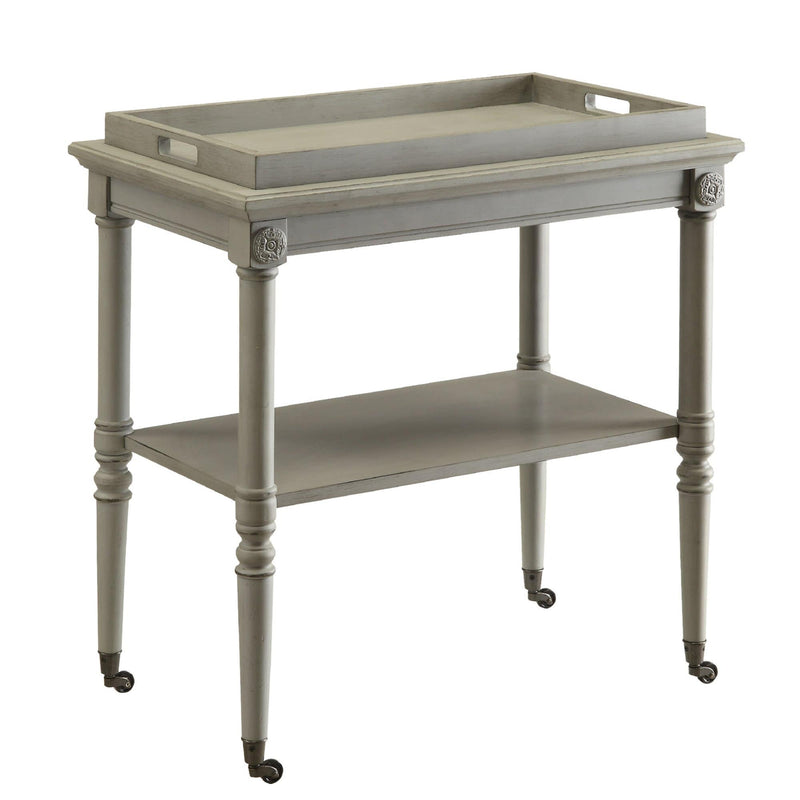 Wooden Serving Tray Table, Gray-Side Tables and End Tables-Gray-MDF Solid Wood Leg-JadeMoghul Inc.