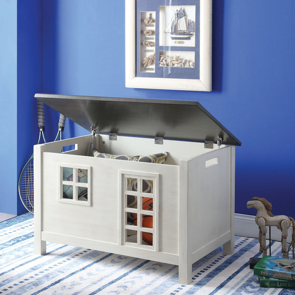 Wooden Youth Chest with Lift Top Storage and Cutout Design, Gray and White-Cabinet & Storage Chests-White and Gray-Engineered Wood-JadeMoghul Inc.