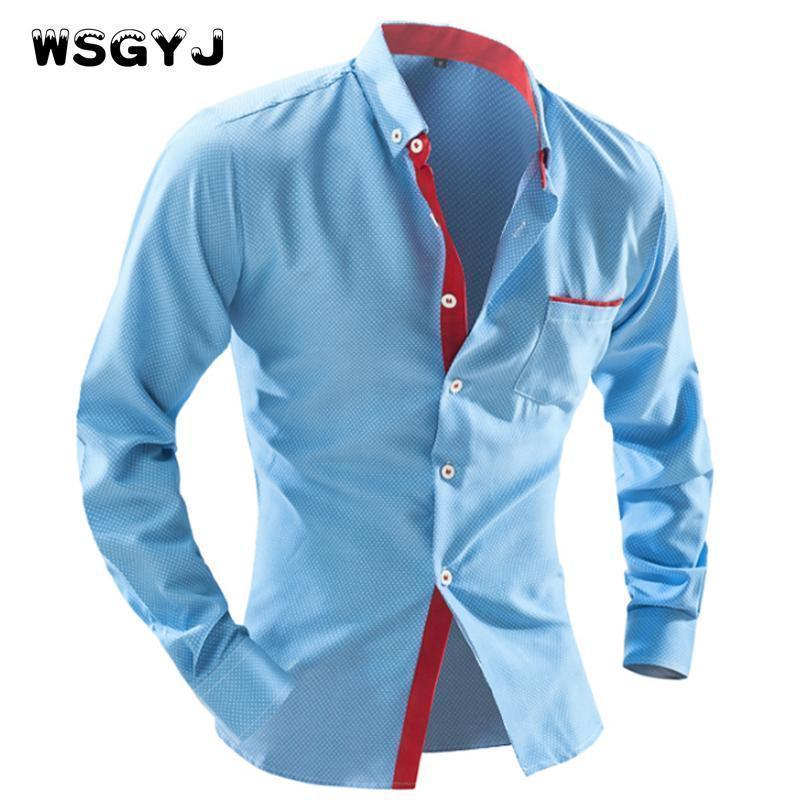 WSGYJ 2017 Men'S Fashion Men Shirt British Fashion Wave Point Slim Square Collar Long-Sleeved Shirt Single Large Size 4XL AExp