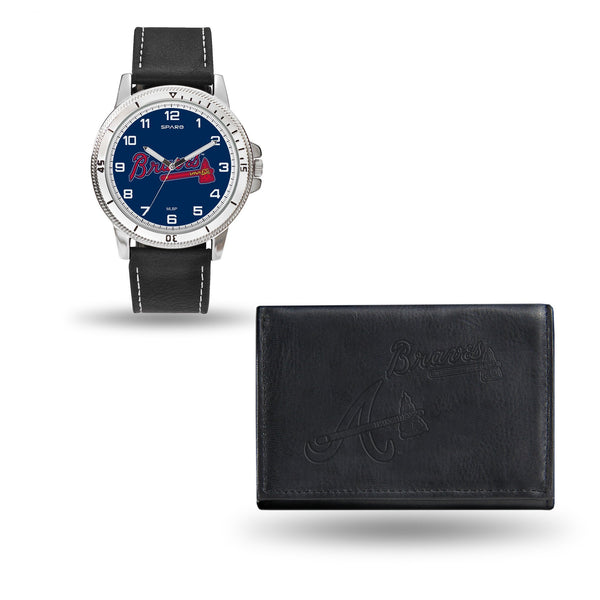 ATLANTA BRAVES MENS BLACK WATCH AND WALLET - MLB-WTWAWA Watch and Wallet Set (Chicago Watch)-JadeMoghul Inc.