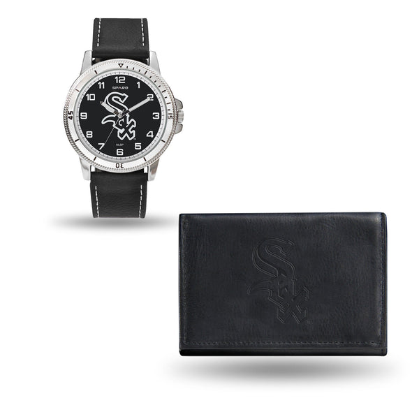 WHITE SOX MENS BLACK WATCH AND WALLET - MLB-WTWAWA Watch and Wallet Set (Chicago Watch)-JadeMoghul Inc.