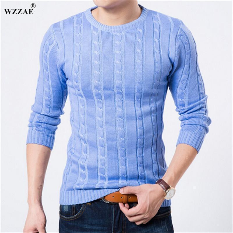 WZZAE 2017 Winter Sweater Men O-neck Casual Knit Jumpers Sweaters Mens Long Sleeve Pullovers Famous Brand Sweater Men Stylish AExp