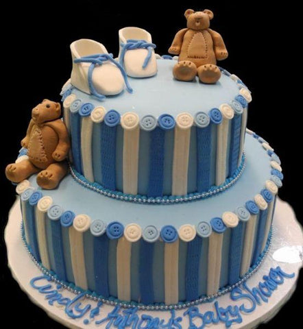 Bears Shoes and  Buttons Baby Shower Cake
