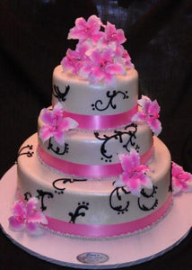Pink and White Fondant Wedding Cakes