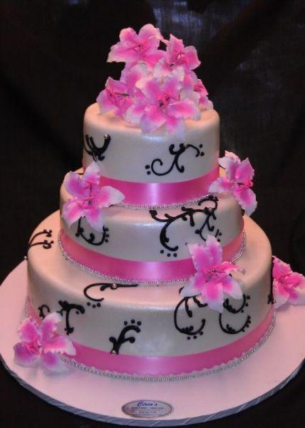 Modern Wedding Cake Pink and Black Cake - W035