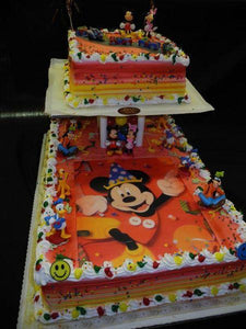 Mickey Mouse Whip Cream Cake with Edible Image and toys on top - B0517
