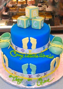 Royal Blue Fondant Cake with Baby A.B.C. Boxes - BS268