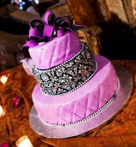 Damask Purple and Black Wedding Cake - W005