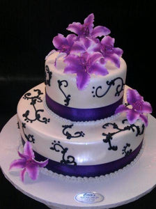 Wedding Cake Purple, White, and Black Fondant Cake - W011