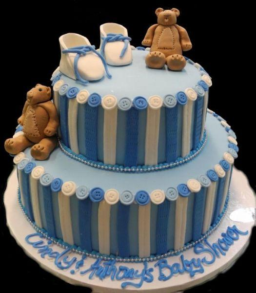 Cake with Bears on top of  2 Tier Fondant with Buttons - BS159