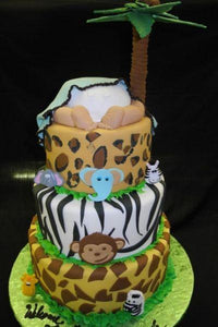 Jungle Theme Baby Bottom Cake