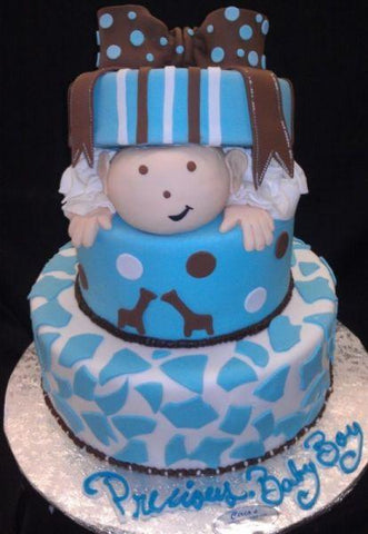 Cake with Baby Boy Popping out of Gift Box - BS039