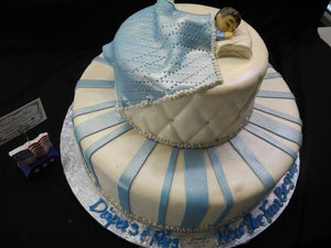 Baby Shower Cake Baby Boy Sleeping Blue and Silver - BS052