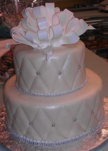 Wedding Cake 2 Tier Diamond Imprint and Silver Pearls - W071