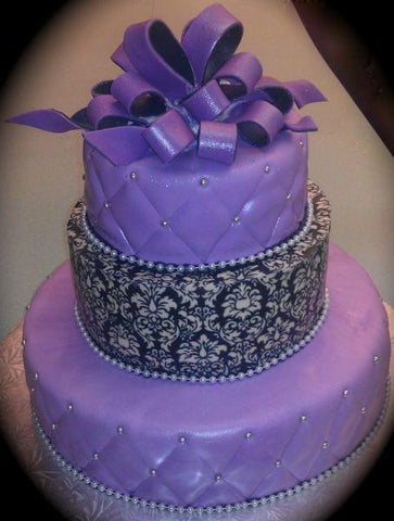 Purple Diamond imprint, Damask Black Fondant Cake - W184
