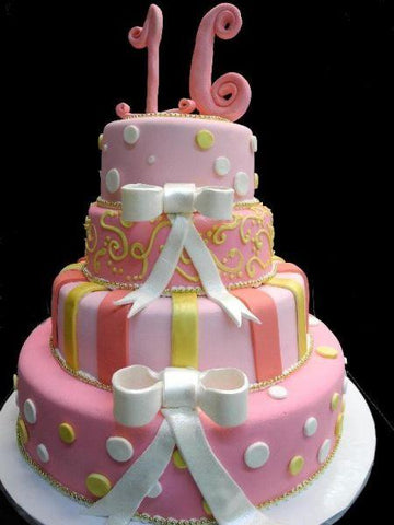 Sweet 16 Fondant Cake with Pink, Yellow, and White Decoration and edible number on top - B0310