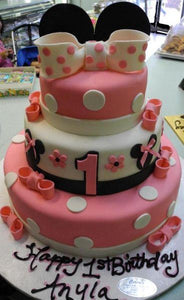 Minnie Mouse Three Tier First Birthday Fondant Cake - B0054